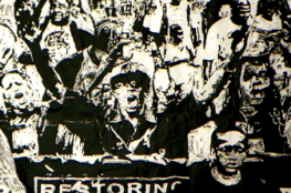 "A poster print of a black-and-white etching depicting a group of people marching with signs and t-shirts reading ""restoring the neighbor back to the hood"""